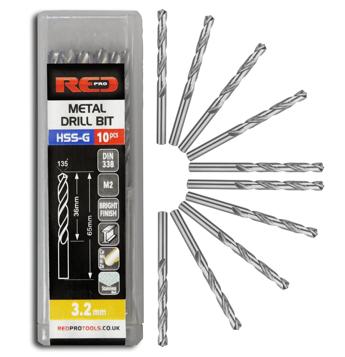 Red Pro Tools Metal Drill Bit HSS-G 3.2mm - 10 Pieces