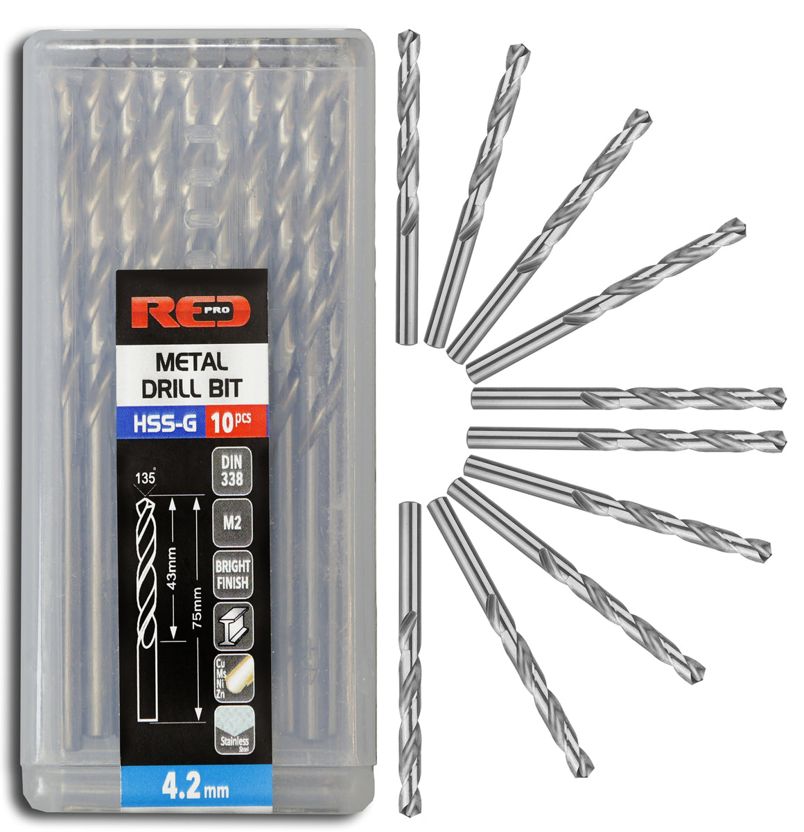 Red Pro Tools Metal Drill Bit HSS-G 4.2mm - 10 Pieces