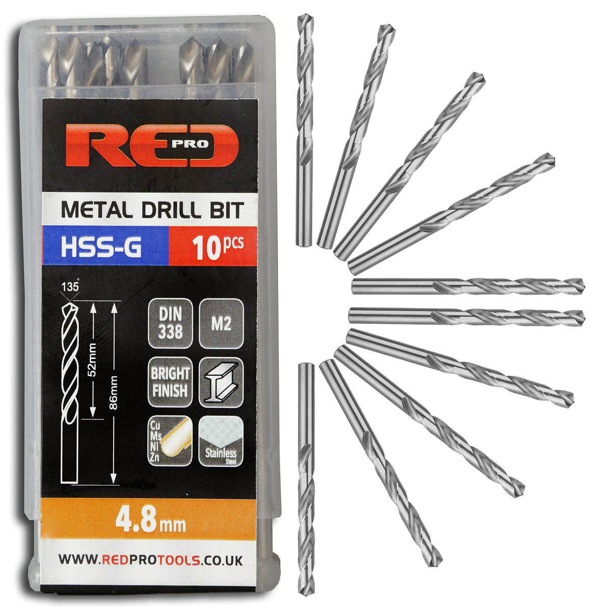 Red Pro Tools Metal Drill Bit HSS-G 4.8mm - 10 Pieces