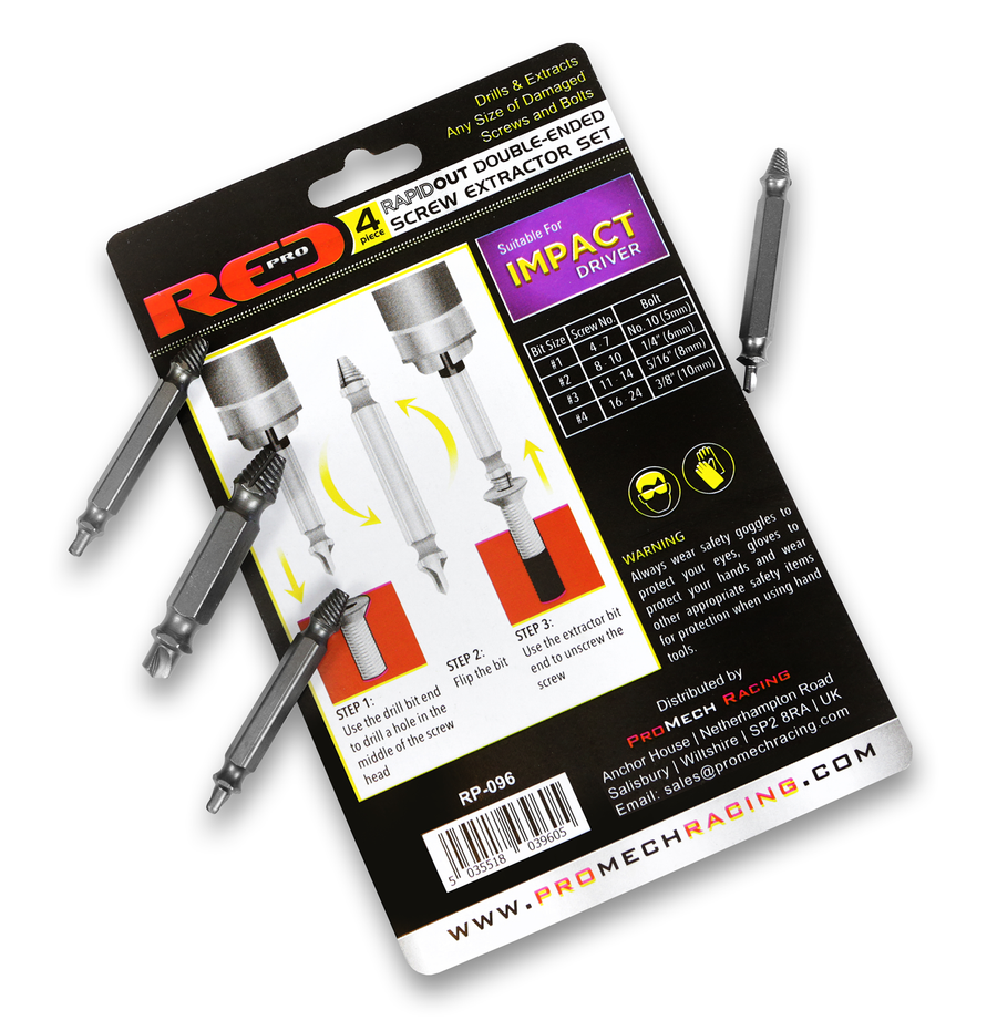 Red Pro Rapid Out Double-Ended Screw Extractor - 4 Piece Set