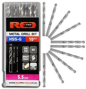 Red Pro Tools Metal Drill Bit HSS-G 5.5mm - 10 Pieces
