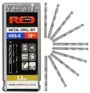 Red Pro Tools Metal Drill Bit HSS-G 5.0mm - 10 Pieces