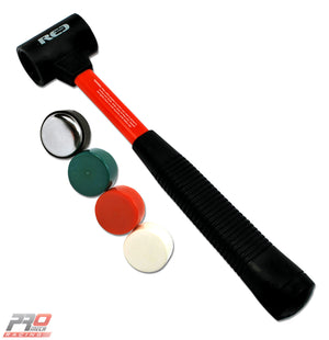 Red Pro Tools Rubber Grip Multi-Head Soft Blow Hammer