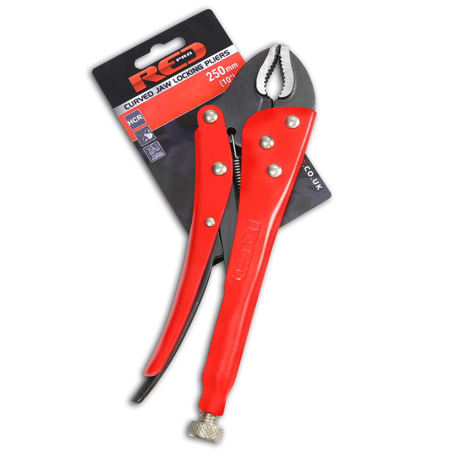 """red pro tools curved jaw locking pliers 250mm (10"""") - promech racing"""