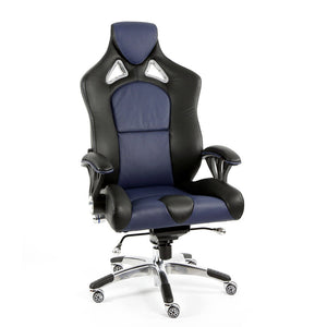 ProMech Racing Speed-998 Office Racing Chair Imperial Blue Upholstered in full Italian Leather Speed998 Designer Office Racing Chair Bucket Seat