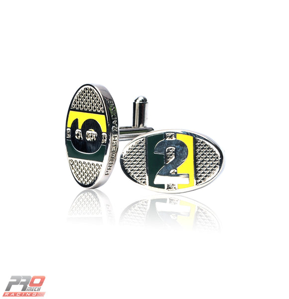 ProMech Racing Racers ID Cufflinks Green & Yellow Giftbox Set Racing Soundbox