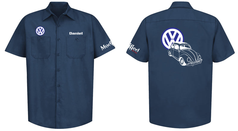 VW Bug Ragtop Logo Mechanic's Shirt
