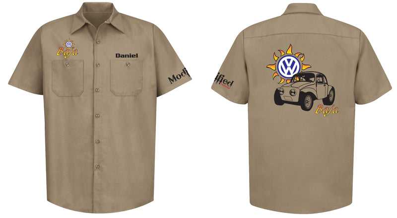 VW Baja Bug Logo Mechanic's Shirt