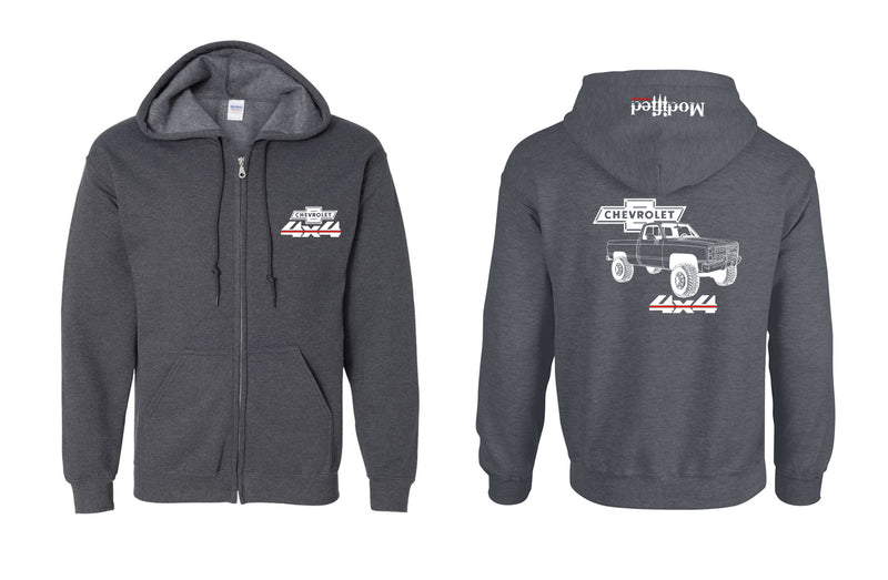 Chevy Square Body 4x4 Truck Full Zip Hoodie