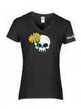 VW Skull & Daisy Ladies V-Neck Shirt