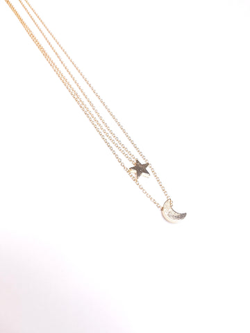 Moon Star double layer Necklace