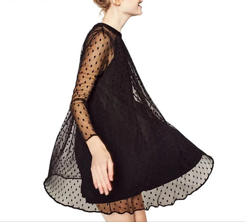 Black polka dot tulle dress ladies