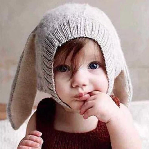 Bunny knit wool hat kids
