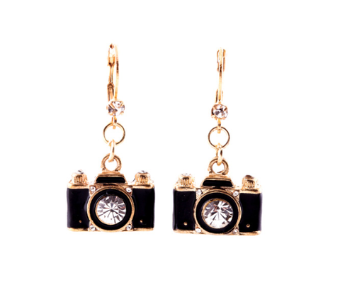 Black & Gold Crystal Shutter Camera Earrings