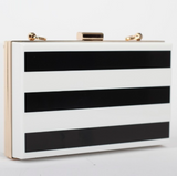 Black & White Clutch with Gold Chain Ladies