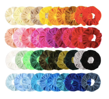 Velvet Scrunchie Hair Elastic Rainbow 50 piece Set