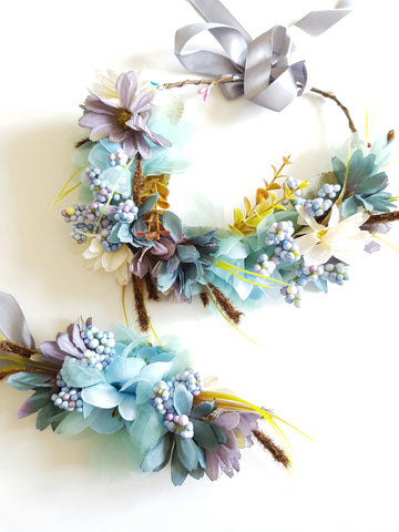 Blue Autumn Wildflower Crown & Bracelet