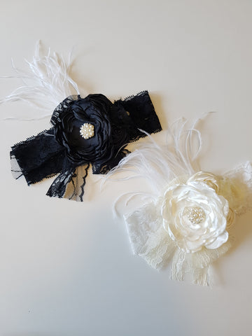 Lace and Pearls and Feathers oh my silk flower Headband