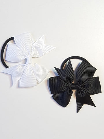 Ponytail Elastic Black & White Set bows