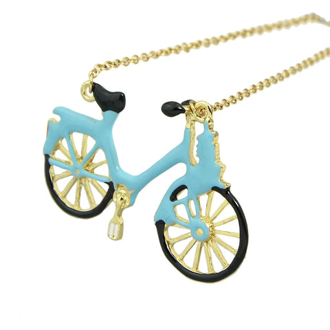Blue Bicycle Enamel Necklace