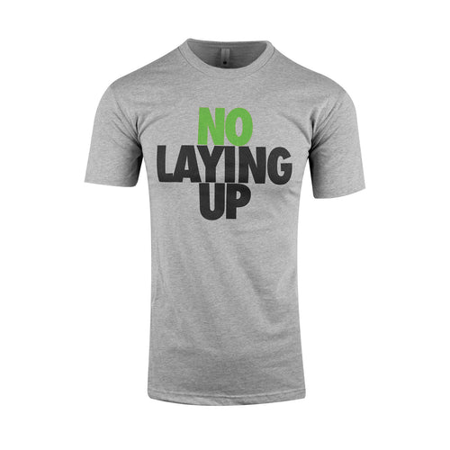 no-laying-up-grey-t-shirt-green-and-black-logo