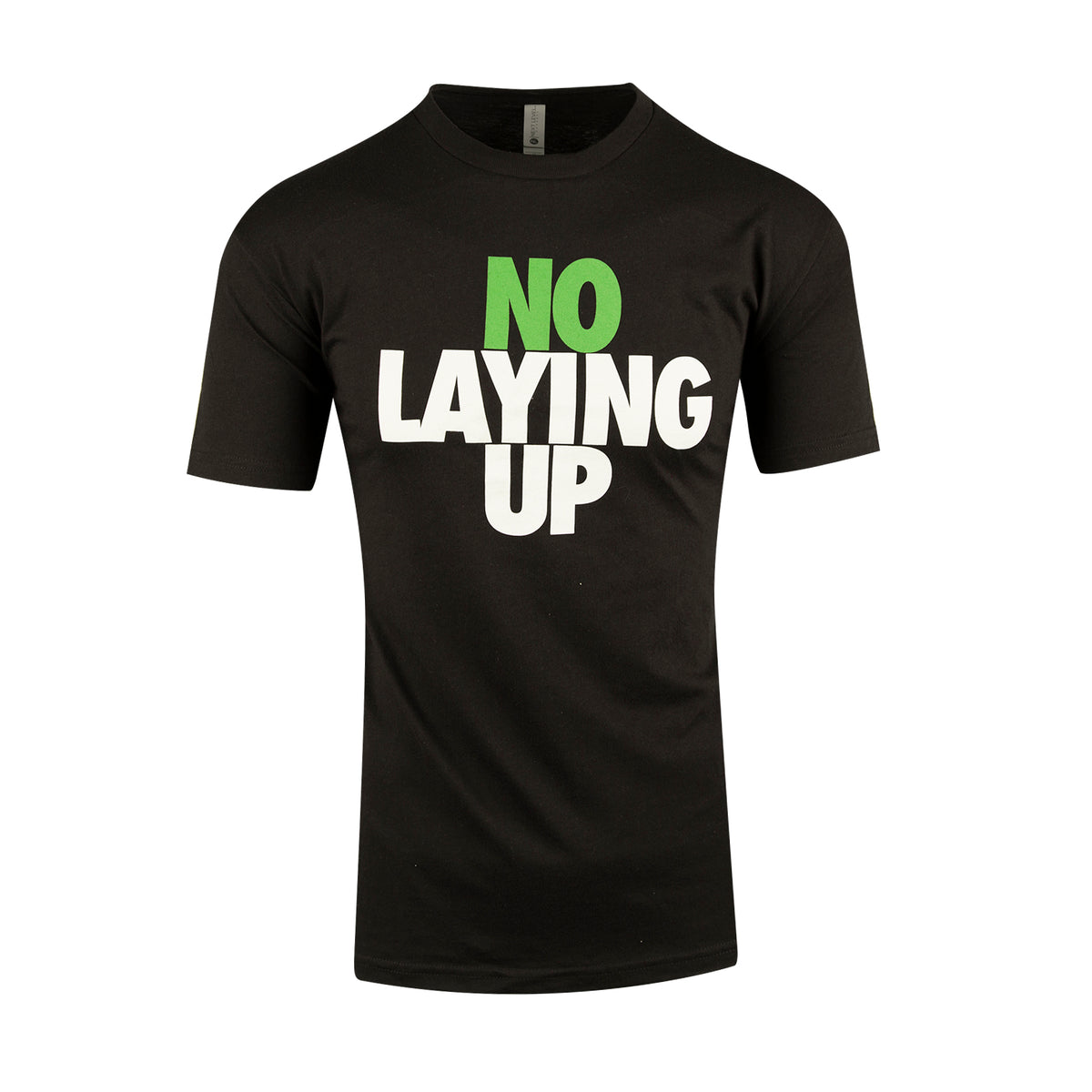 no-laying-up-black-t-shirt-with-green-and-white-logo