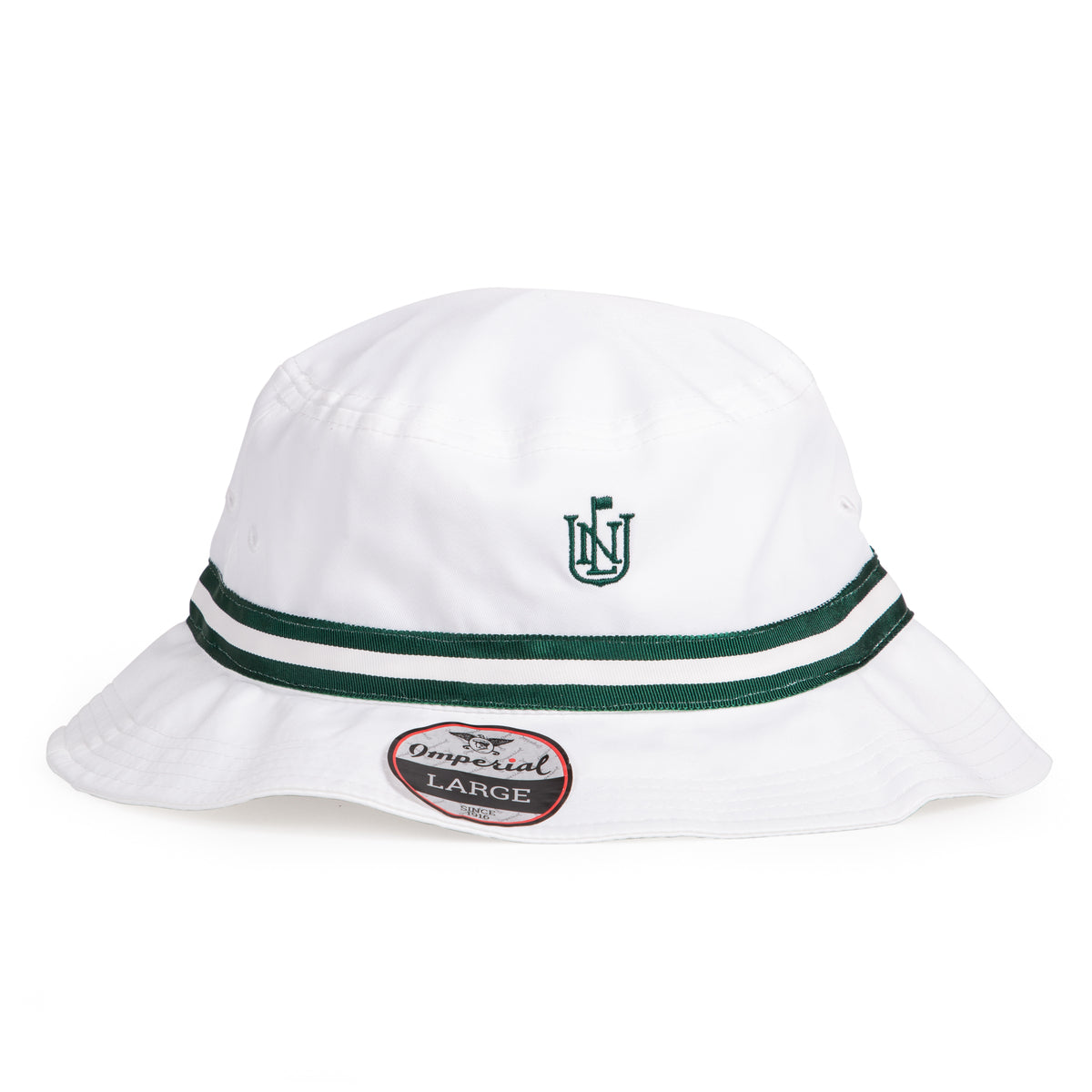 NLU Crest Performance Bucket | White w/ Green Ribbon