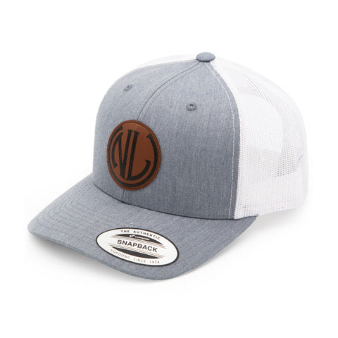 Leather Patch Hat | Light Grey w/ White Mesh