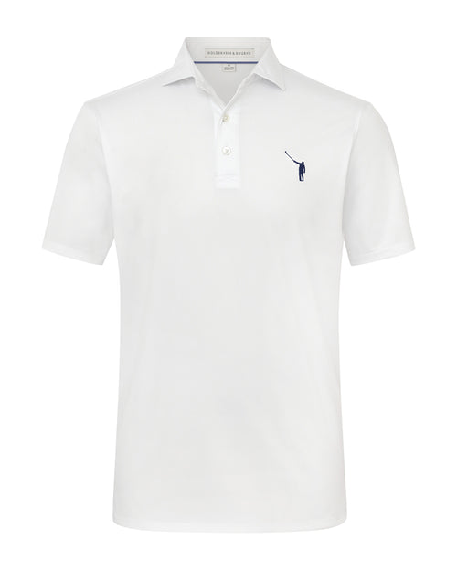 NLU + H&B Polo | White w/ Navy Logo