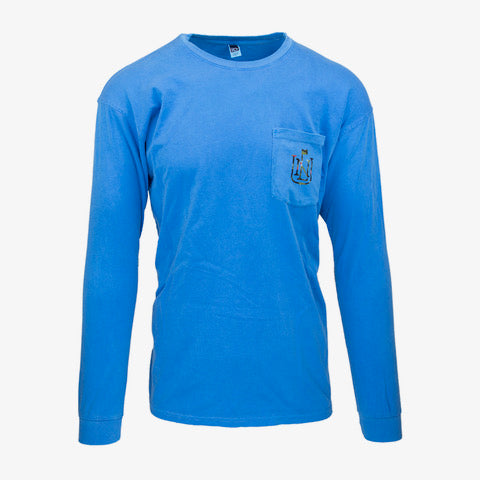 Floral NLU Crest Long Sleeve Pocket T-Shirt | Blue