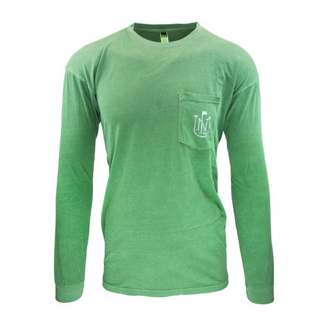NLU Crest Long Sleeve Pocket T-Shirt | Green w/ Snow Camo