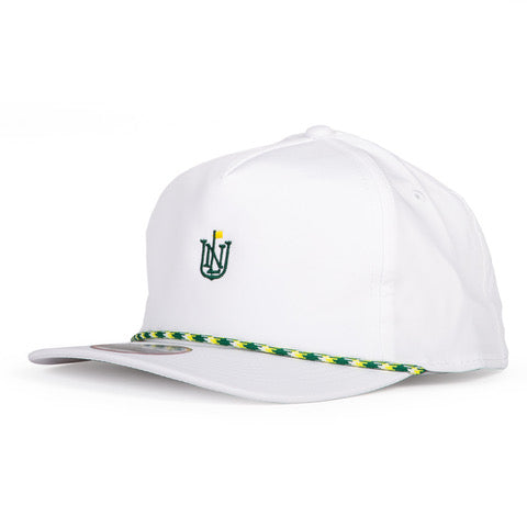 NLU Crest Rope Hat | White with Green and Yellow Rope