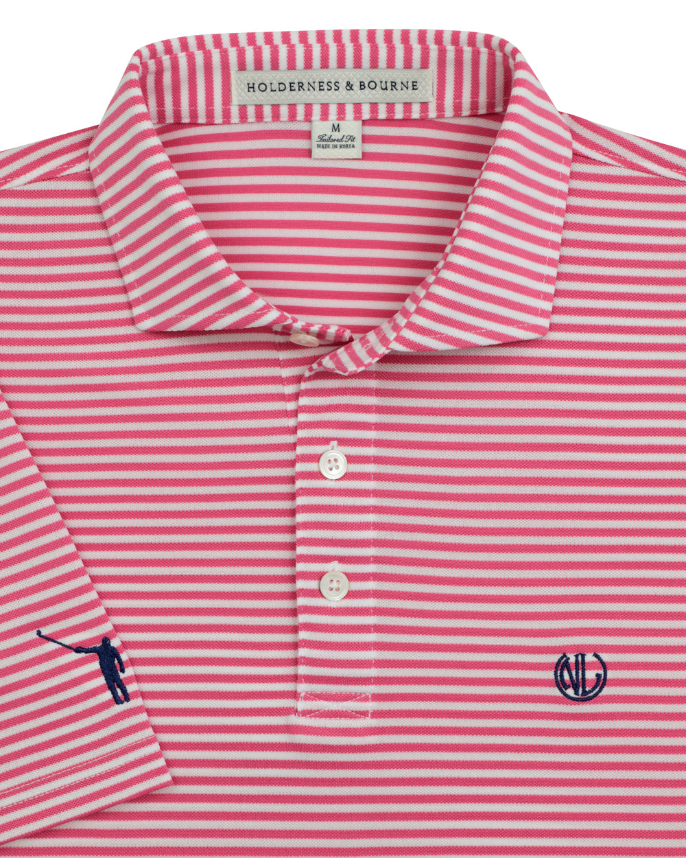 NLU + H&B Monogram Polo | Azalea & White