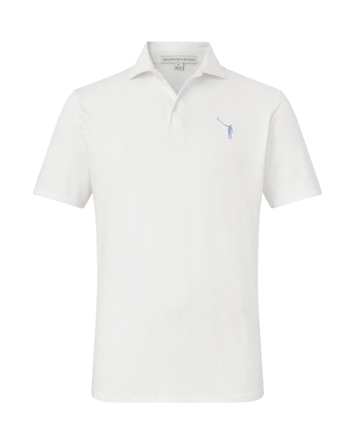 NLU + H&B Polo | White w/ Light Blue Logo