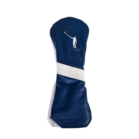 Fairway Headcover | Ocean Blue Leather with White Gator Stripe