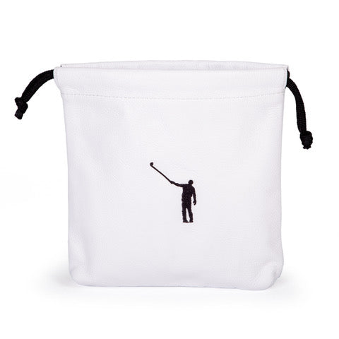 Drawstring Player's Pouch | White Leather