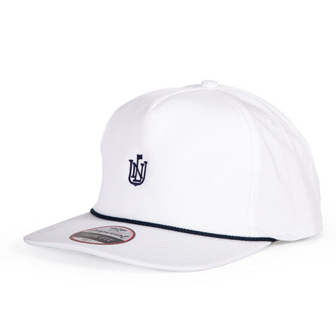 NLU Crest Rope Hat | White with Navy Rope