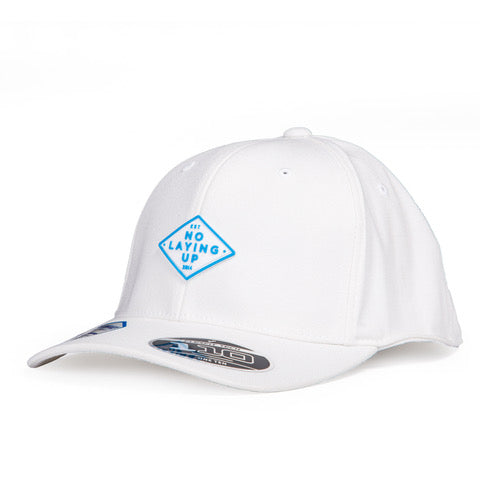 Light Blue Retro Diamond Patch Hat | White FlexFit