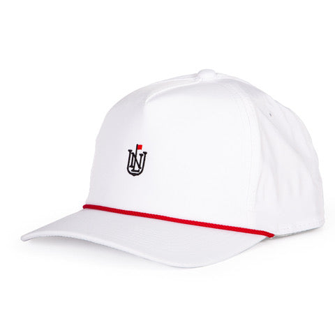 NLU Crest Rope Hat | White with Red Rope