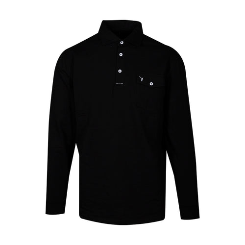 The NLU Long Sleeve Pocket Polo | Black