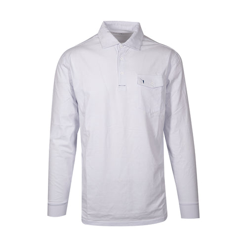 The NLU Long Sleeve Pocket Polo | White