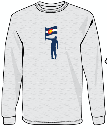 NLU Colorado Flag Long Sleeve T-Shirt - Heather White (only S remaining)