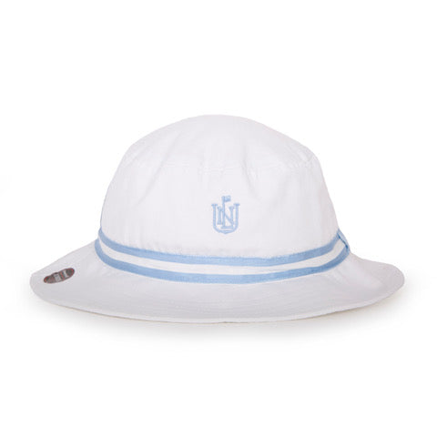 Kids Bucket Hat - White w/ Light Blue Ribbon