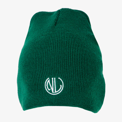 NLU Cuffless Beanie | Green w/ Monogram
