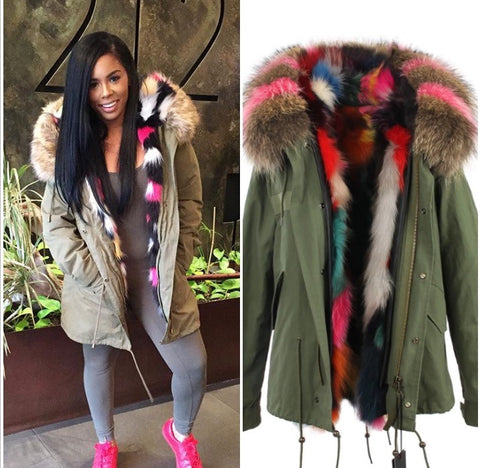 theColdest - fur lined and Fox trimmed hooded parka coat - FlyFitRich - 1