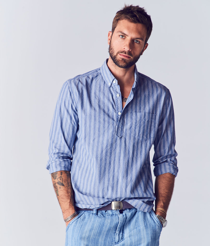 Calder Chambray Stripe Popover Shirt