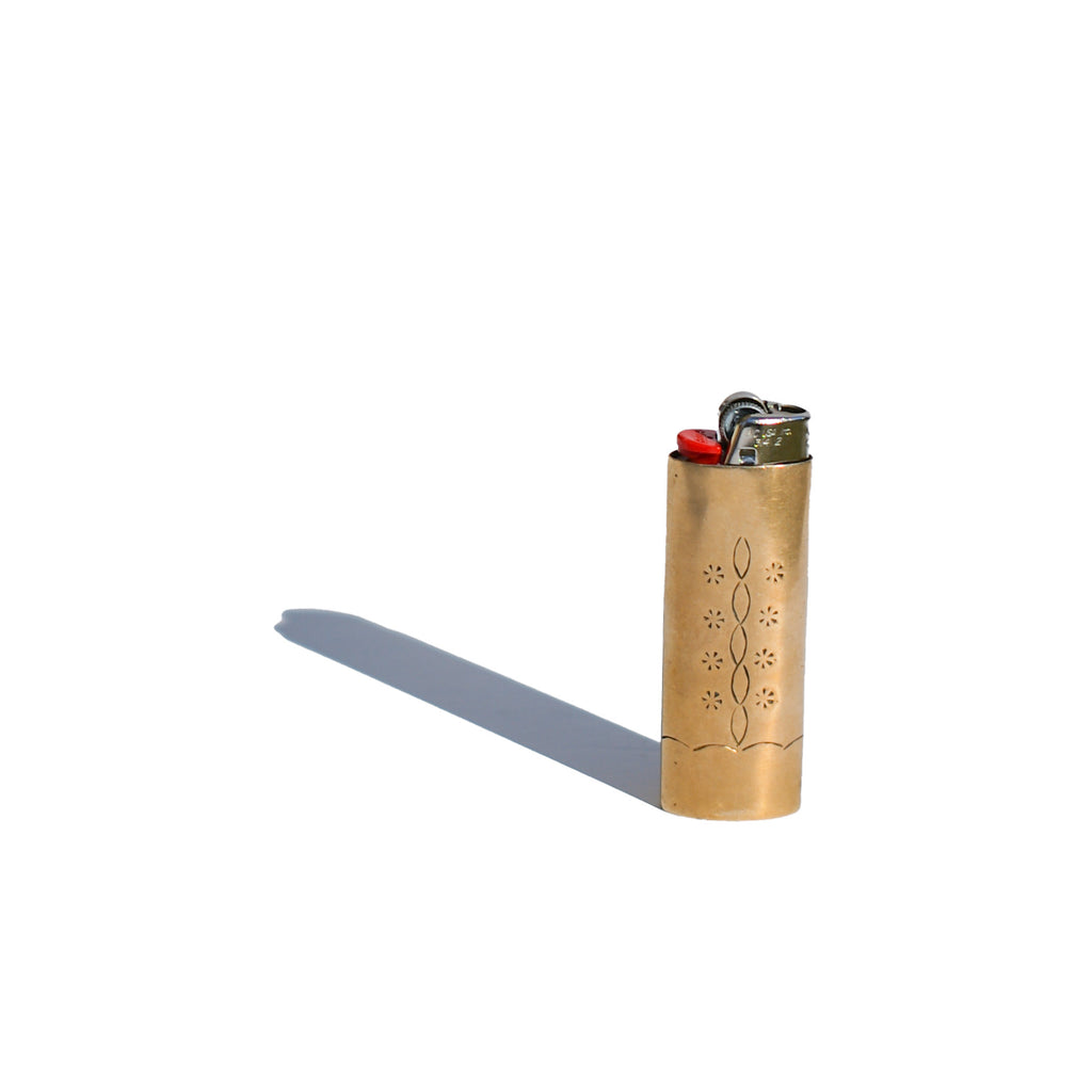 Brass and Turquoise Bic Lighter Cover