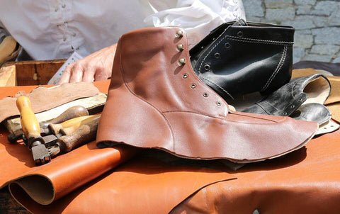 Smooth leather boots in the works. See how shiny the leather is?
