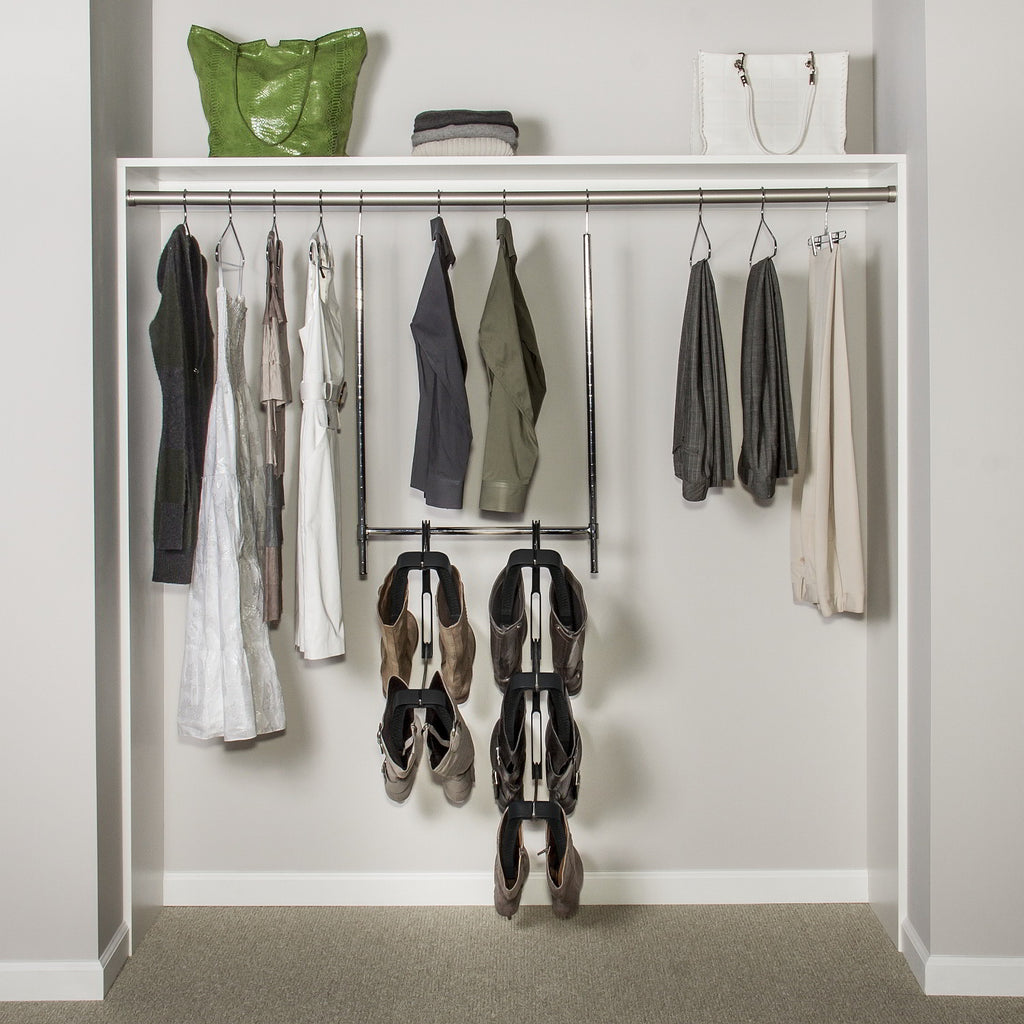 A Boot Butler Boot Rack hanging from a double hang closet rod