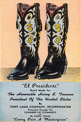 Tony Lama Cowboy boots that were gifted to Harry Truman by the El Paso Texas Chamber of Commerce